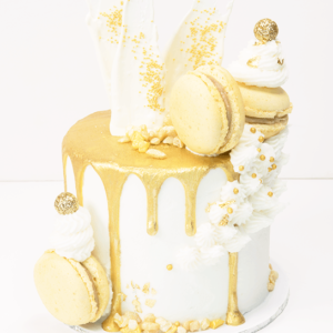 White Buttercream with Gold Drip