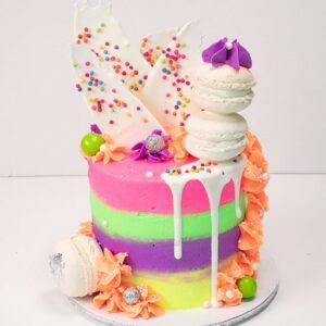 Rainbow highlights cake