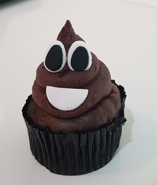 Poop emoji cupcake