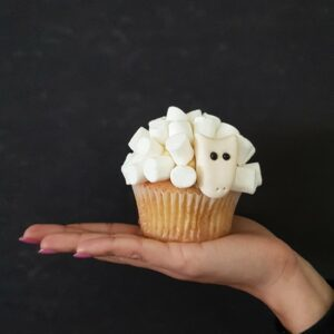 Wool you be mine? cupcake in white