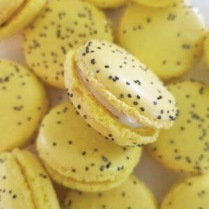 Lemon, mint & poppy seed macaron