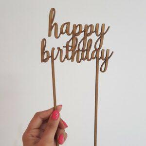 """Happy birthday"" laser-cut topper"