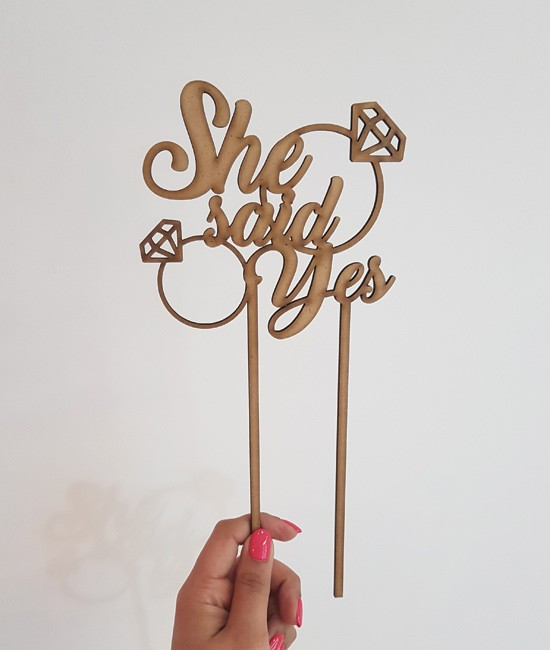 """""""She said Yes"""" laser-cut topper"""