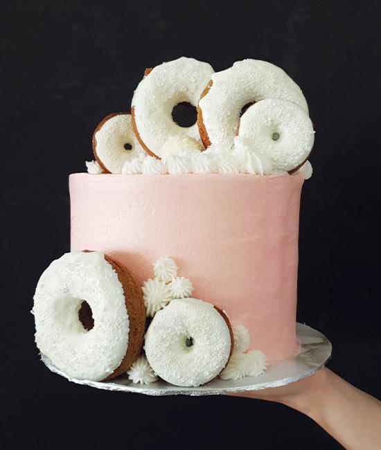 Donut worry, be happy cake